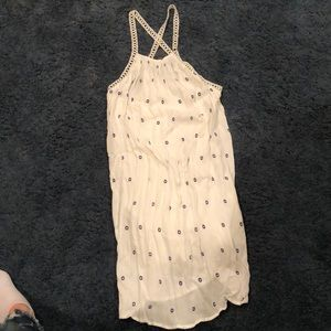 Oneill white polka dot dress sz S with cross strap